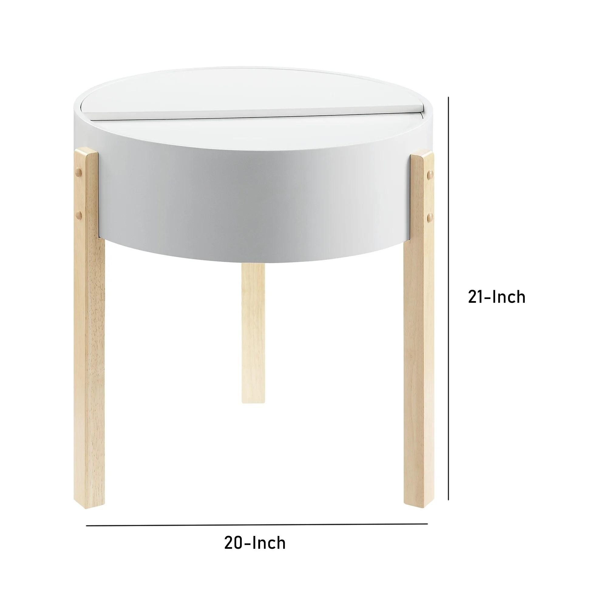 round wooden end table with hidden storage white and brown