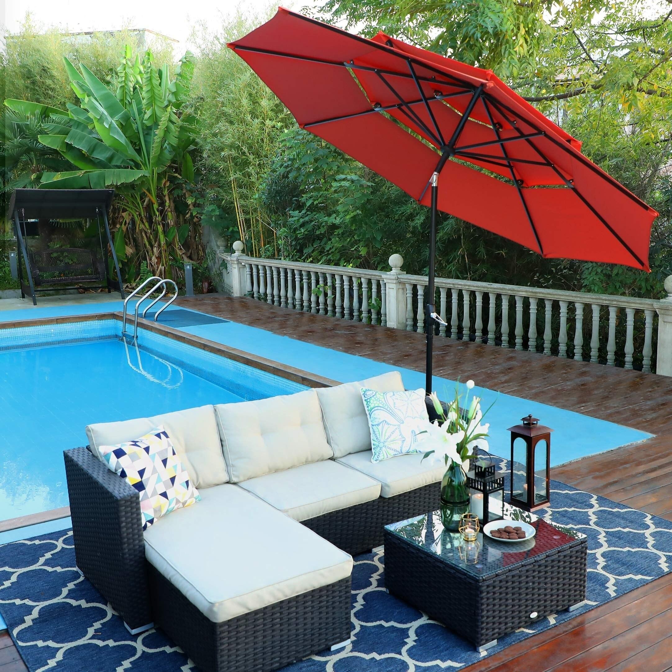 phi villa 10ft 3 tier auto tilt patio umbrella outdoor double vented umbrella orange red