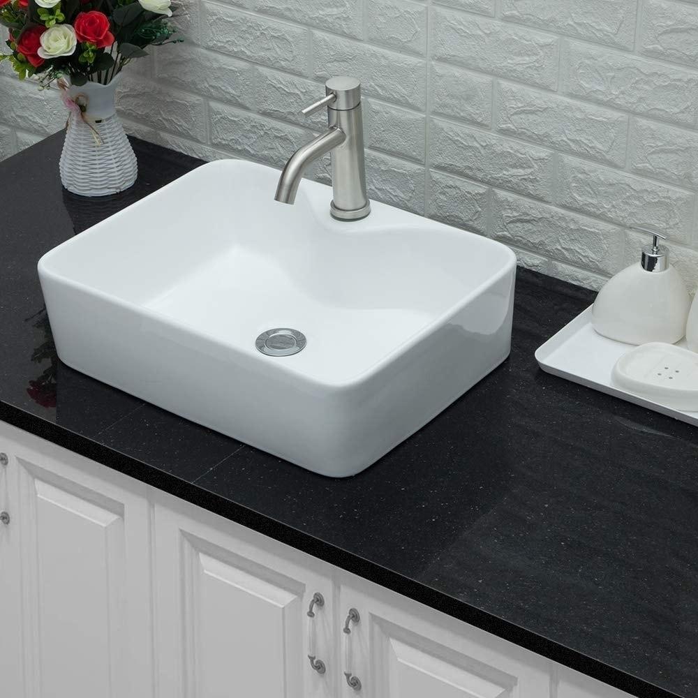 rectangle ceramic bathroom vessel sink