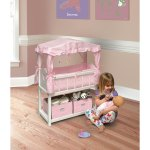 Shop Black Friday Deals On Badger Basket Canopy Doll Crib With Baskets Bedding And Mobile White Pink On Sale Overstock 3358332