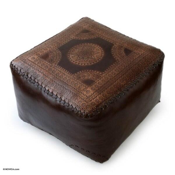 handmade moon polished soft brown leather ottoman brazil