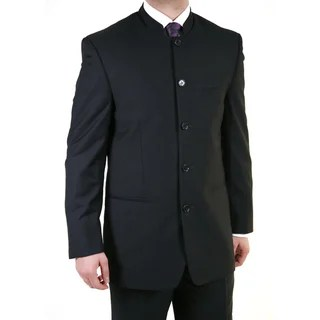Ferrecci Men S Black Mandarin Collar Suit 11899867