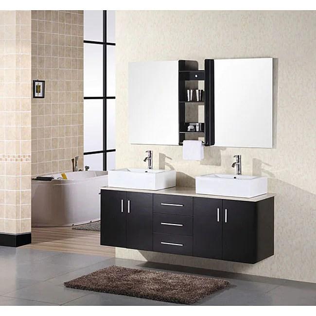 Design Element Contemporary Double Sink Bathroom Vanity ...