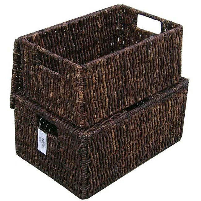 Baskets Home Decor   Shop our Best Home Goods Deals Online at     Woven Grass Rectangular Lidded Storage Baskets  Set of 2
