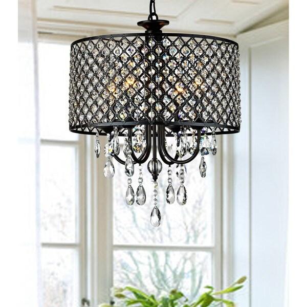 Antique Black 4 Light Round Crystal Chandelier