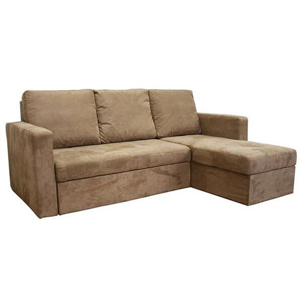 Linden Convertible Tan Microfiber Sectional Sofa Bed Free  sc 1 st  Centerfieldbar.com : tan microfiber sectional - Sectionals, Sofas & Couches