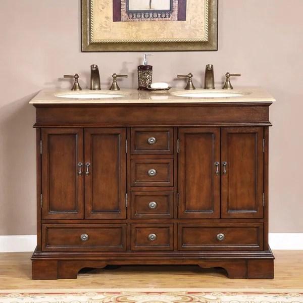 silkroad exclusive mesa 48-inch double-sink bathroom vanity - free