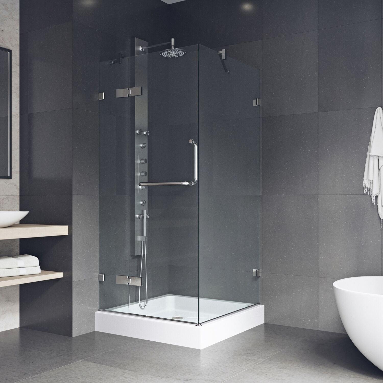 Vigo Monteray Frameless Shower Enclosure With Base 36 X 36 36 1 8 L X 36 1 8 W X 79 1 4 H