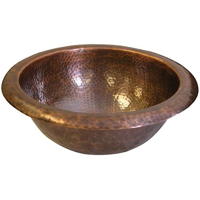 small round antique-finish copper bathroom sink - free shipping