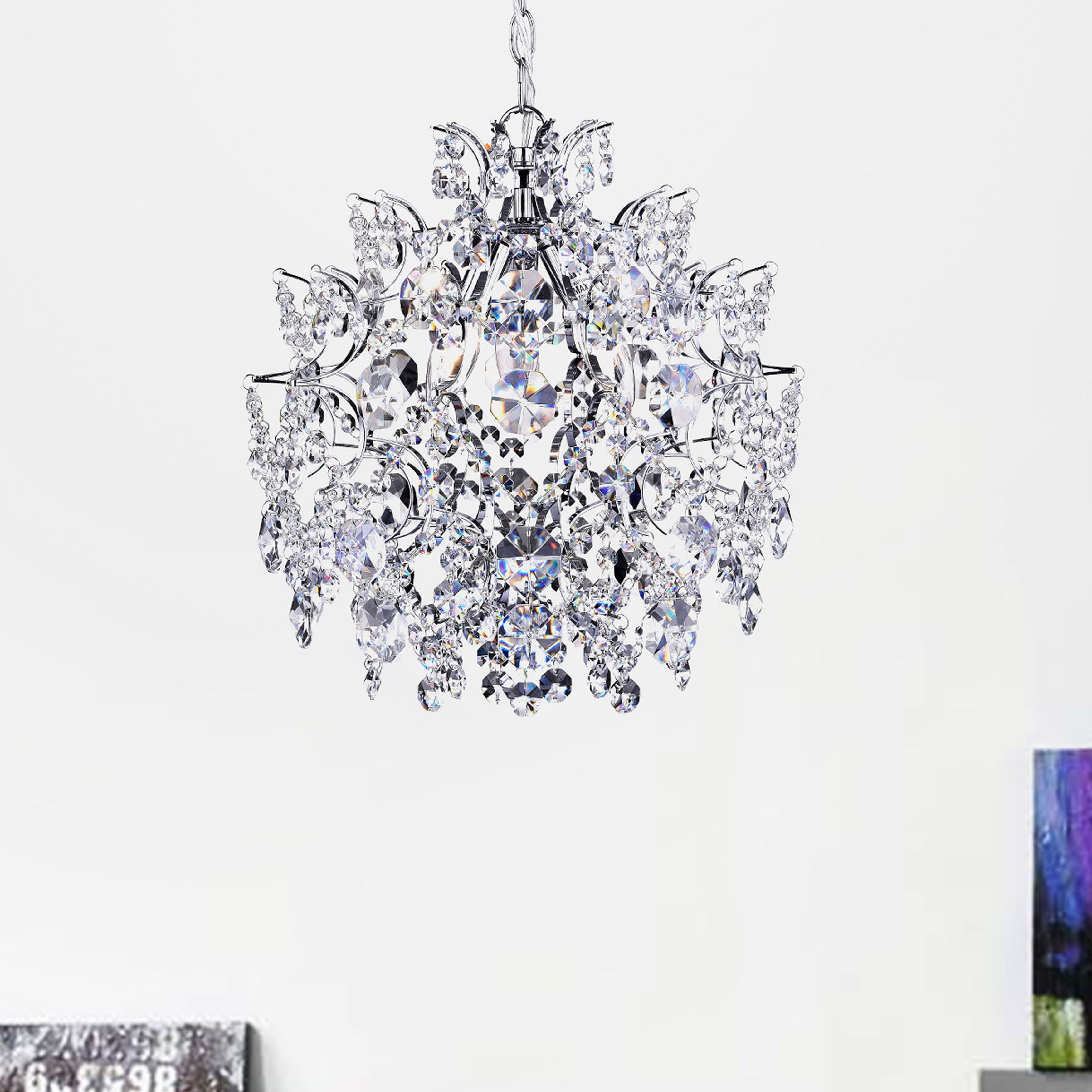 Shop Elegant Indoor 3 Light Chrome Crystal Chandelier