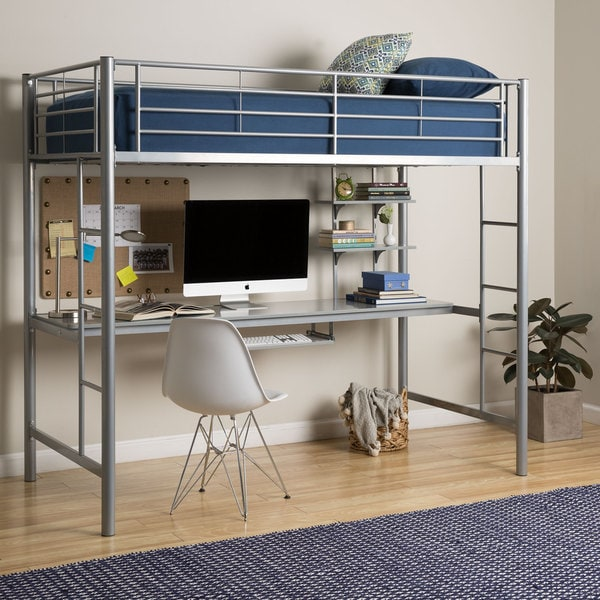 Shop Twin Metal Loft Bed With Desk Silver On Sale