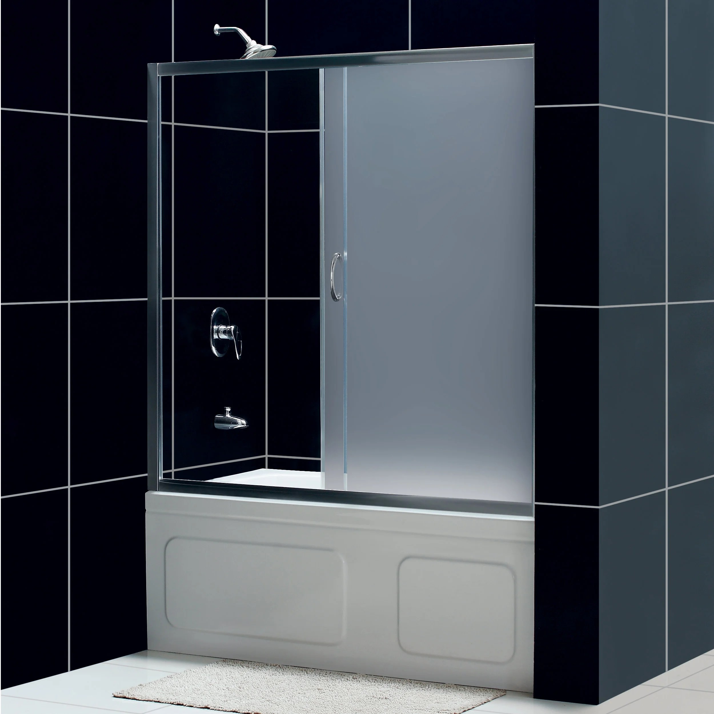 Dreamline Infinity 60 Inch Frosted Glass Tub Sliding Shower Door