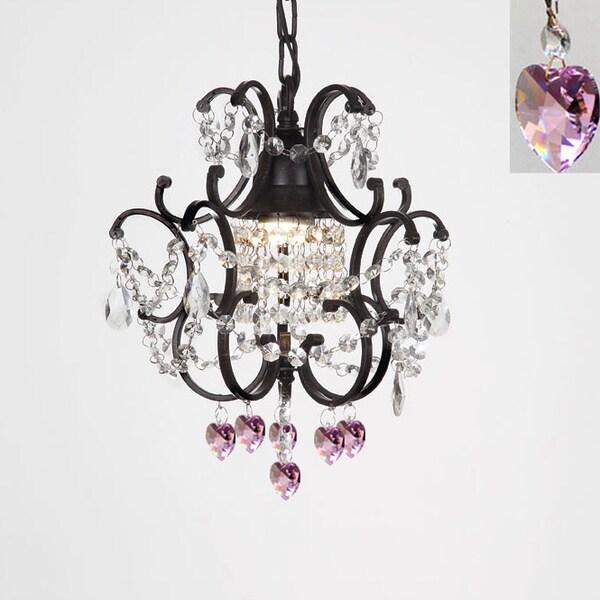 Gallery Versailles 1 Light Black Crystal Hearts Mini Chandelier