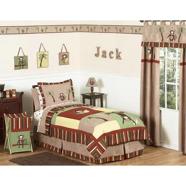 sweet jojo designs monkey 4 piece boy s twin size bedding set