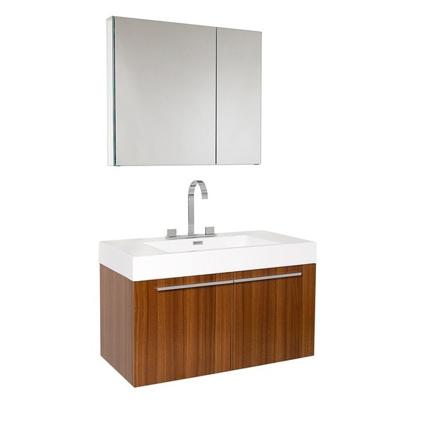 fresca vista teak bathroom vanity and medicine cabinet - free