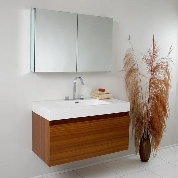 fresca mezzo teak bathroom vanity with medicine cabinet - free