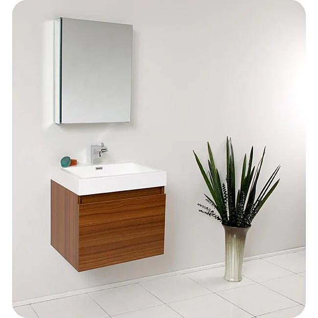 fresca nano teak bathroom vanity with medicine cabinet - free