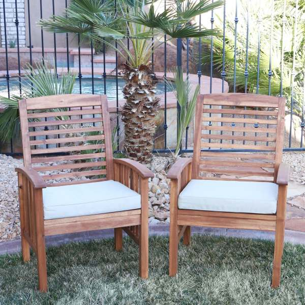 Shop Acacia Wood Patio Chairs  Set of 2    Free Shipping On Orders     Acacia Wood Patio Chairs  Set of 2