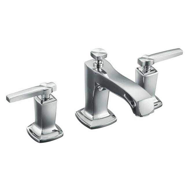 kohler k 16232 4 cp polished chrome margaux widespread lavatory faucet with lever handles