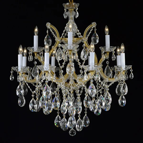 Gallery Maria Theresa 13 Light 2 Tier Antique French Gold Crystal Chandelier