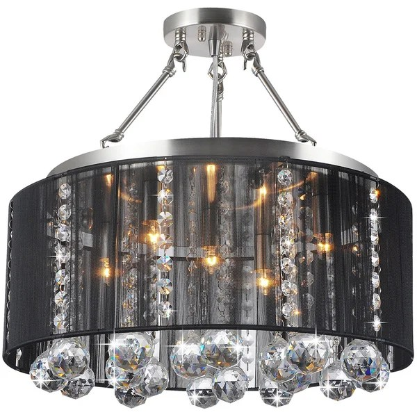 Crystal 5 Light Black Shade And Satin Nickel Semi Ceiling Lamp