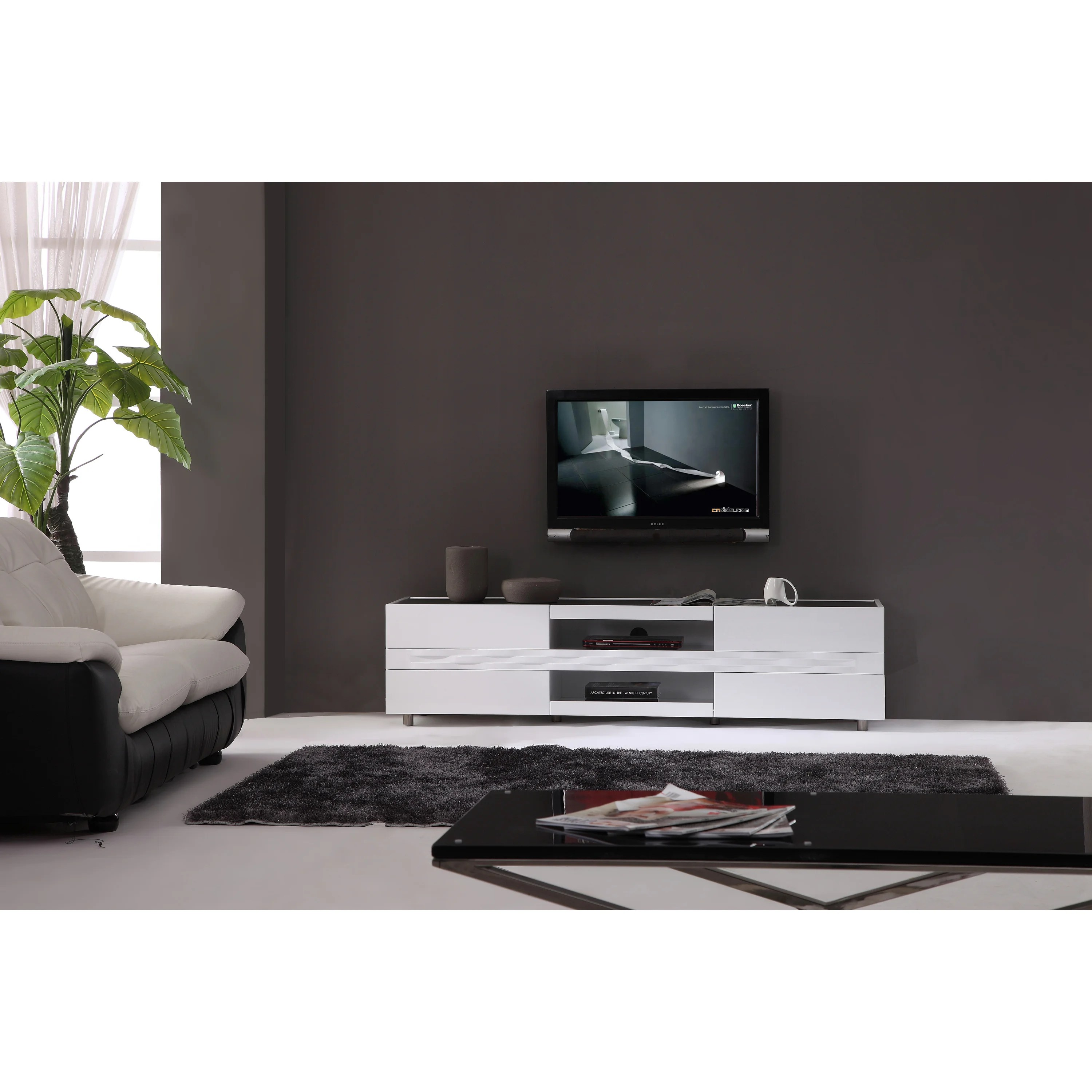 Shop Firenze White Two Drawer Modern Tv Stand On Sale Overstock 5899956