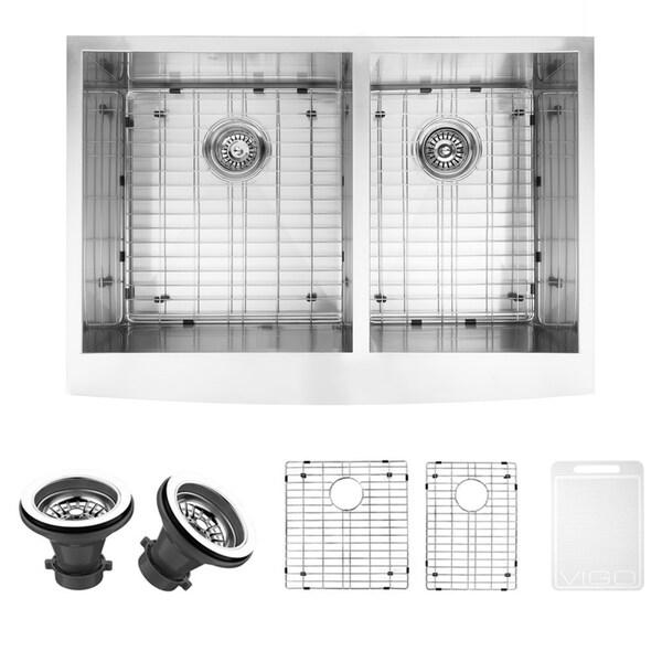 VIGO 33 Inch Farmhouse Stainless Steel Kitchen Sink Two
