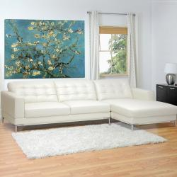 Babbitt Sleek Ivory Leather Modern Sectional Sofa Free Shipping : sleek sectional sofa - Sectionals, Sofas & Couches