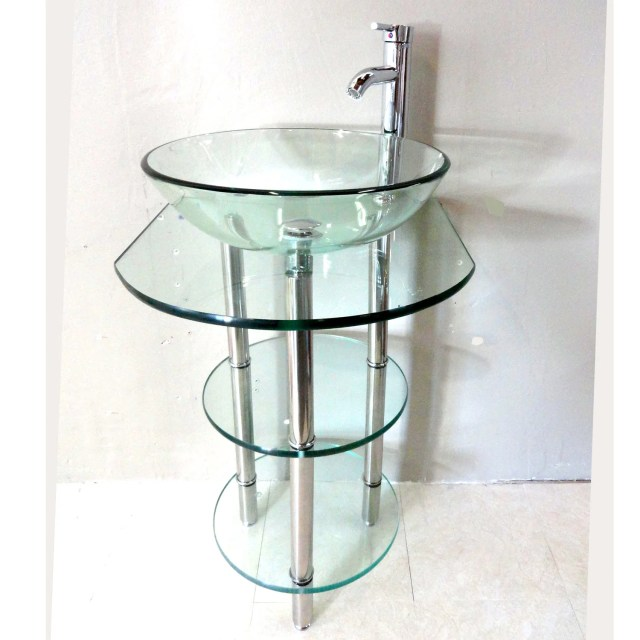 Clear Tempered Glass Pedestal Vanity and Sink bo Free