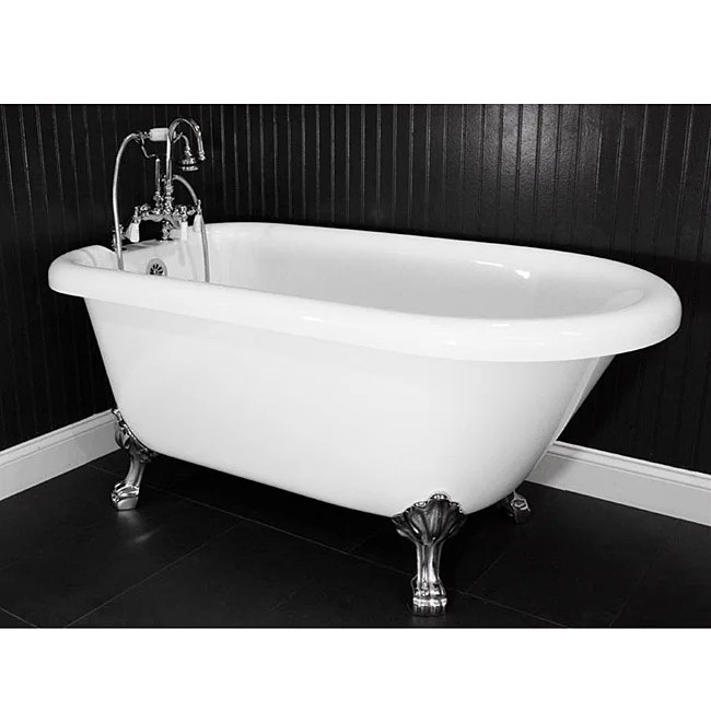 Shop Spa Collection 53 Inch Classic Style Clawfoot Tub And Faucet Pack Free Shipping Today