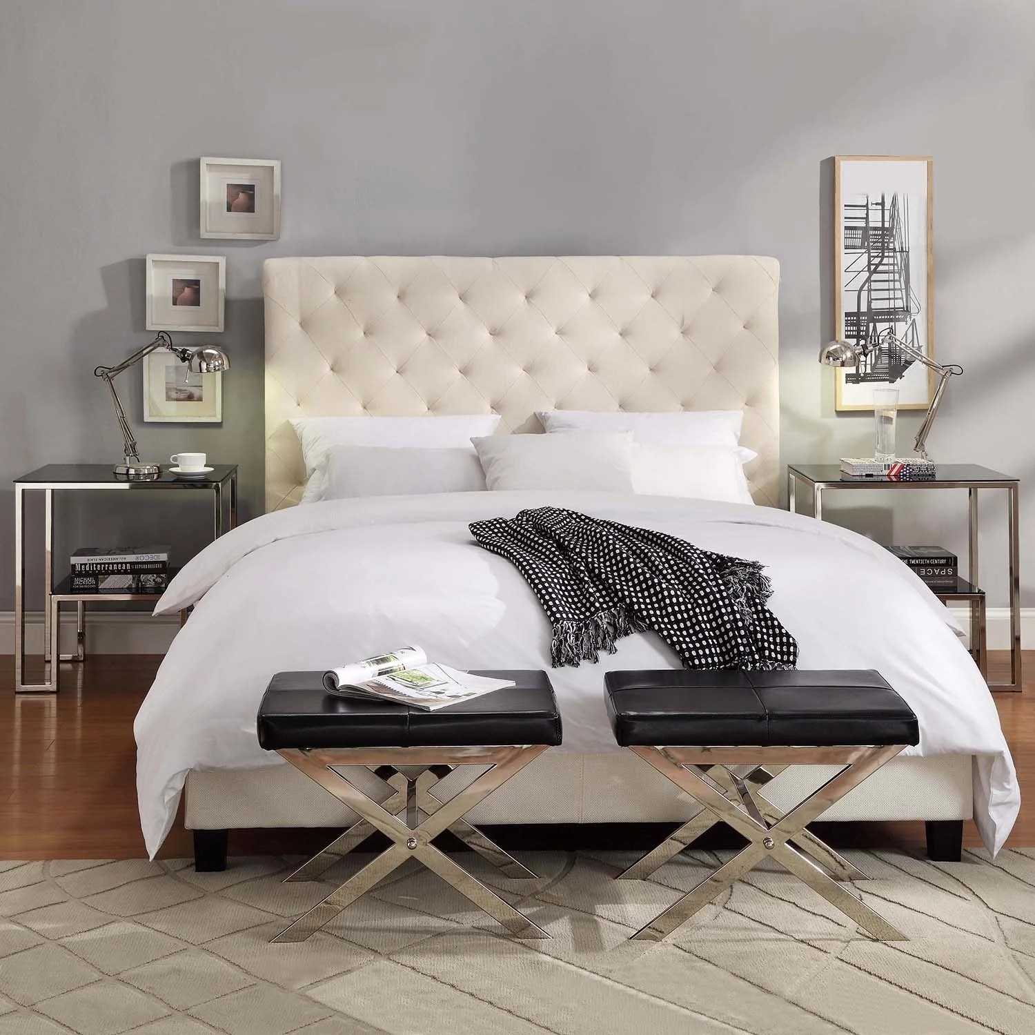Tribecca Home Sophie Beige Fabric Tufted King Sized