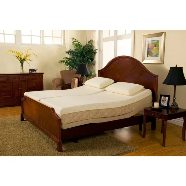 Sleep Zone Supreme 10 Inch Latex And Memory Foam Split King Size Adjule Mattress