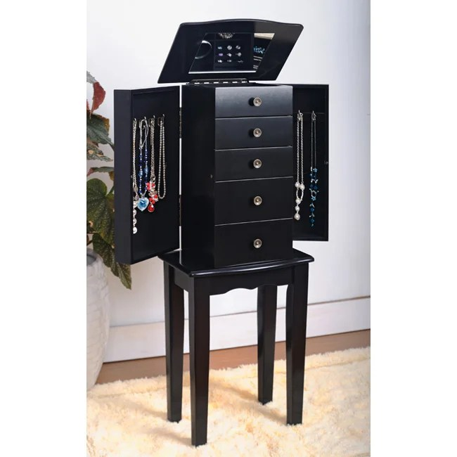 Contemporary Style Black Jewelry Armoire Chest Free