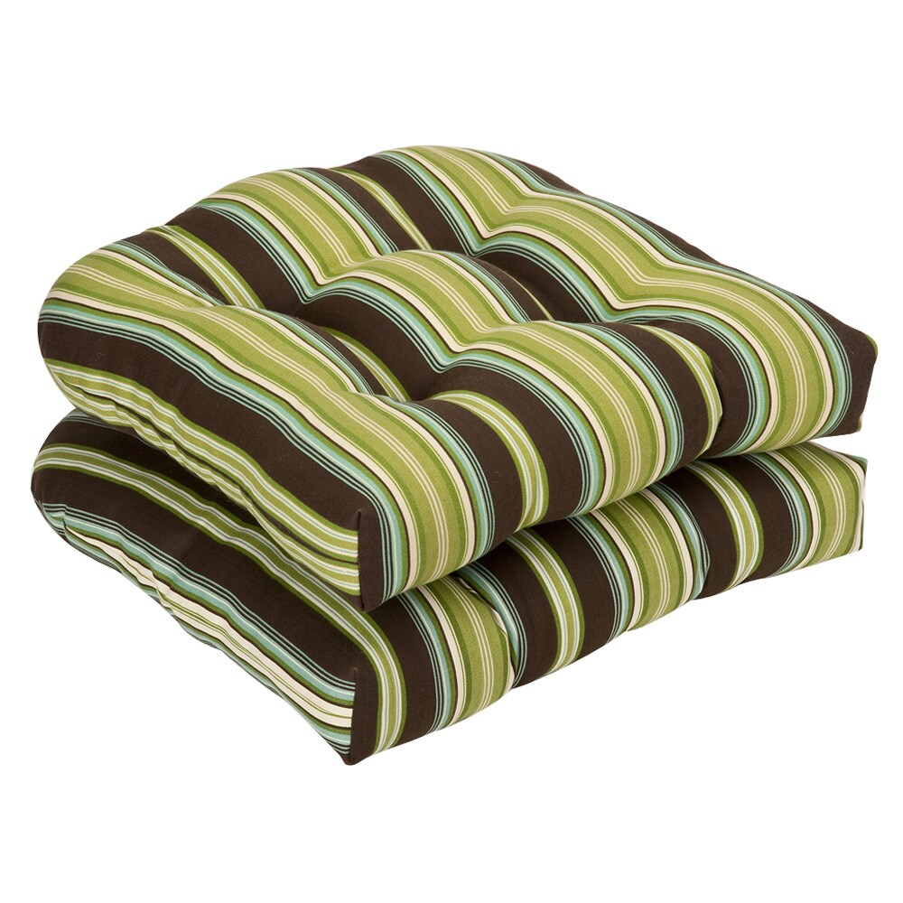 Shop Pillow Perfect Outdoor Brown Green Striped Wicker
