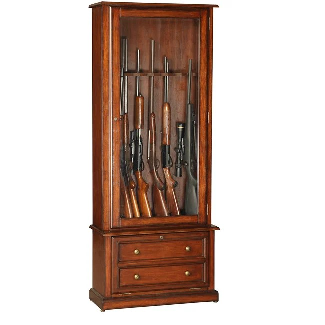 Classic Eight Gun Glass Door Display Cabinet Free