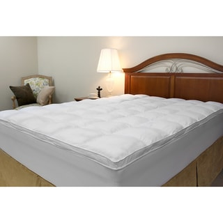 Microfiber Baffled Box Twin Full Size Fiber Bed Topper With Skirt