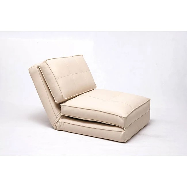 Baltimore Cream Faux Leather Convertible Chair Bed Free Shipping Today 14037430