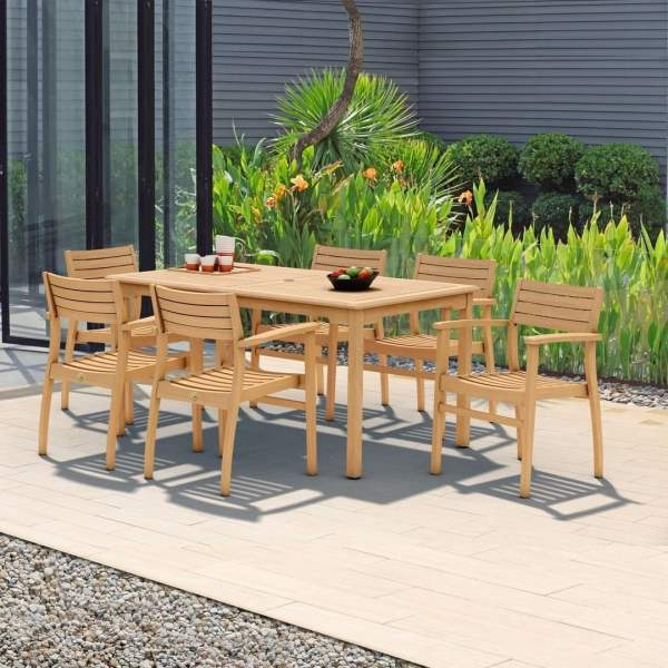 Buy Teak Outdoor Dining Sets Online at Overstock com   Our Best     Amazonia Teak Savannah 7 piece Teak Dining Set
