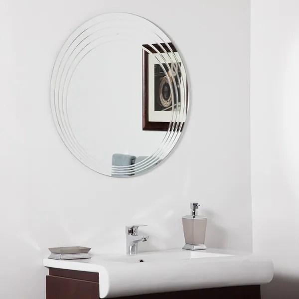 Bryn Modern Bathroom Mirror - Silver - 27.6 dia x .5D - On ...