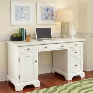 Shop Naples White Finish Pedestal Desk by Home Styles   Free     Naples White Finish Pedestal Desk by Home Styles