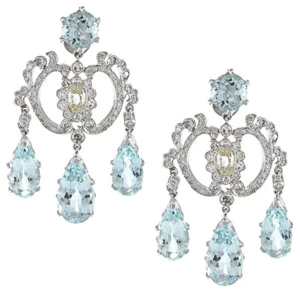 Pre Owned 18k White Gold 2ct Tdw Aquamarine Chandelier Earrings M N Si1