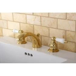 mini-widespread polished brass bathroom faucet - free shipping