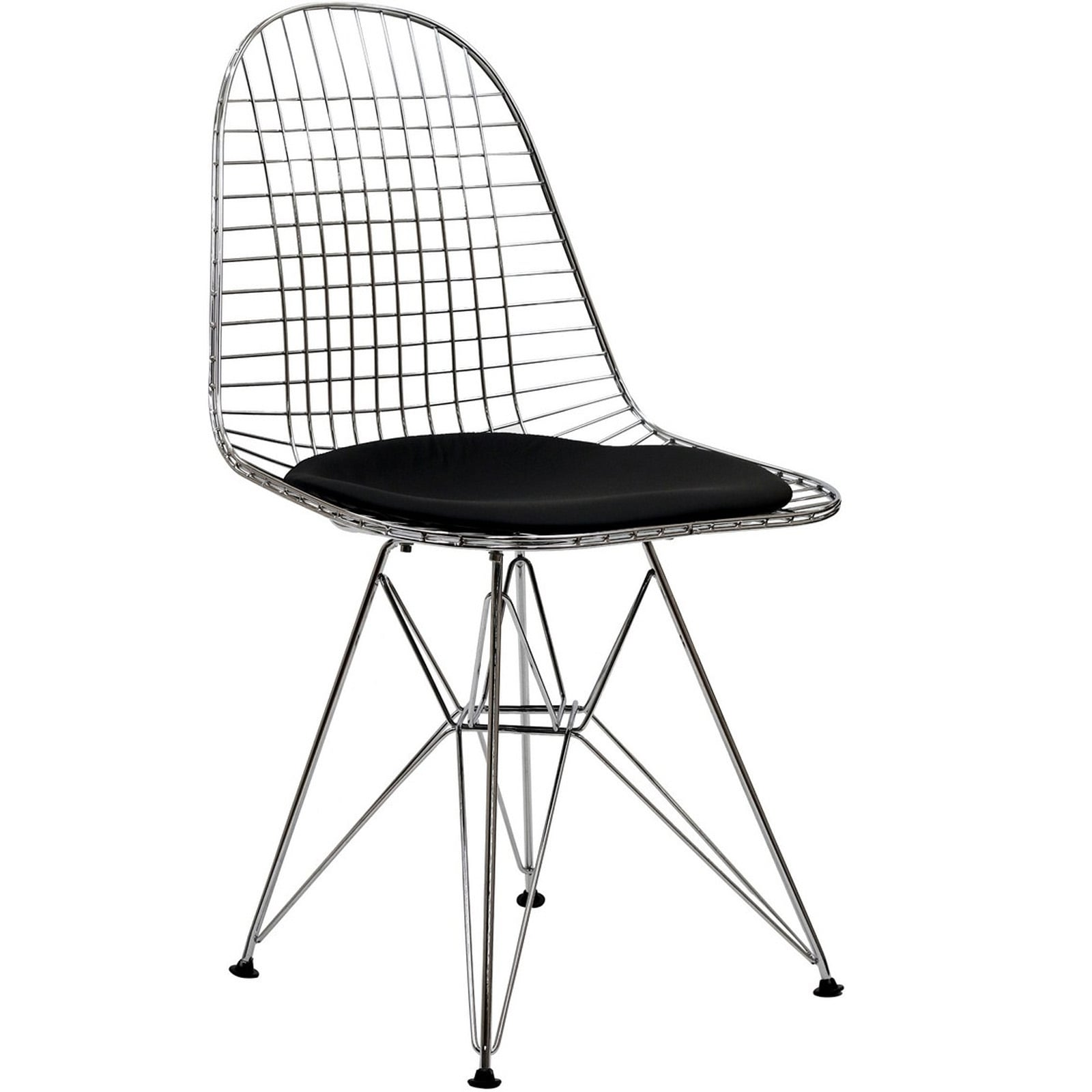 Wire Tower Black Vinyl Cushion Dining Chair