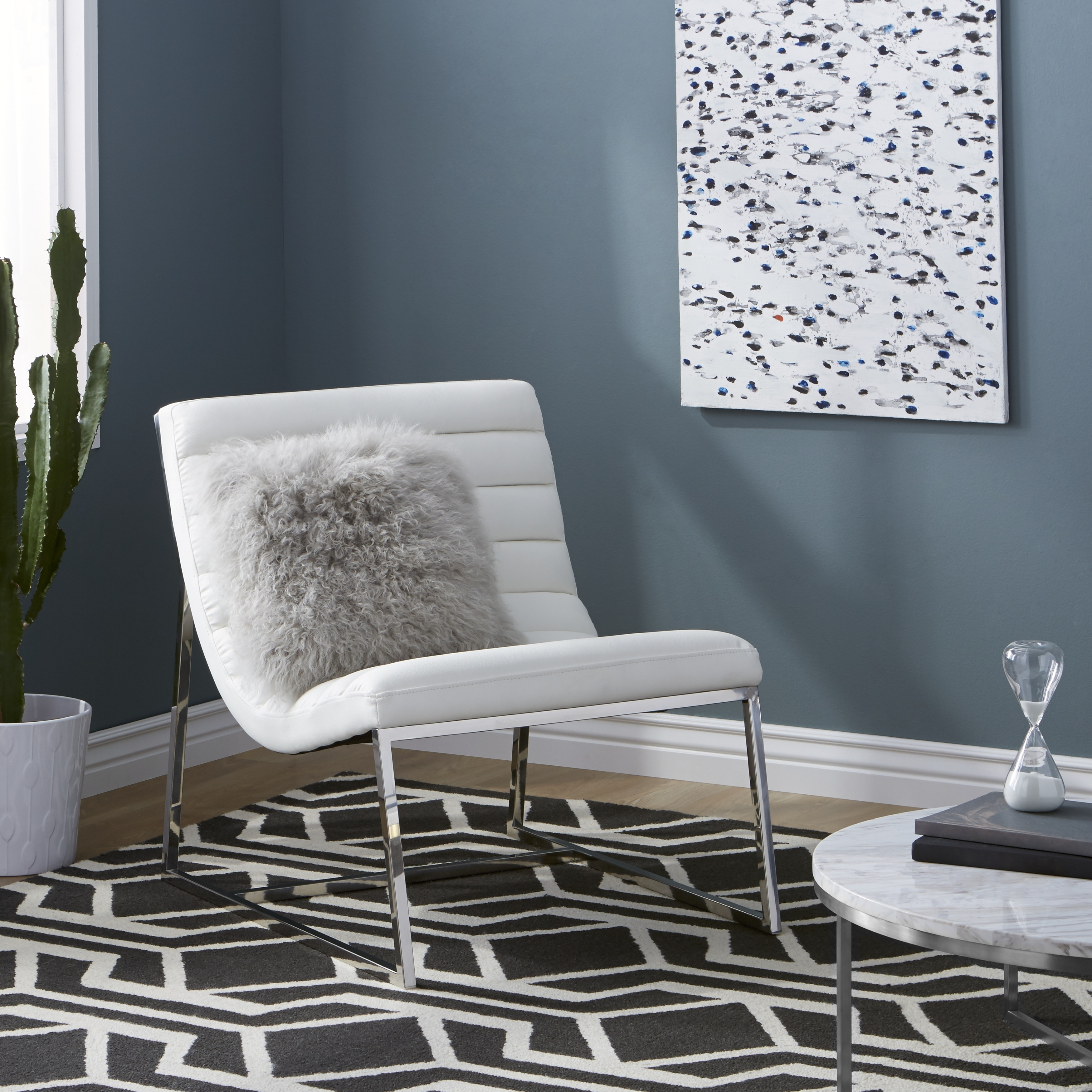 Details About Accent Chairs For Living Room White Leather Fancy Modern Armless Comfy Sturdy