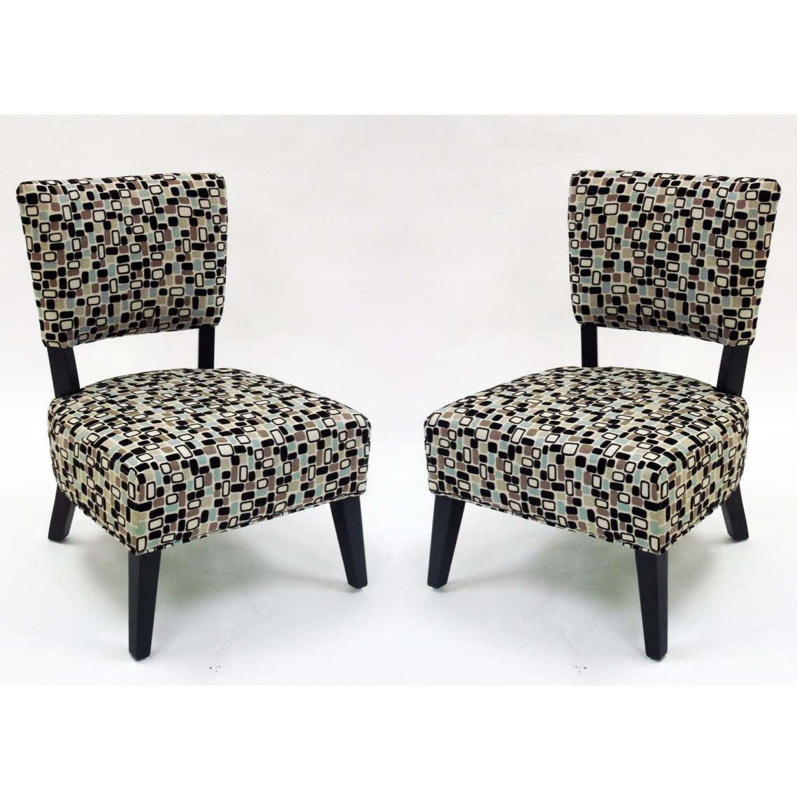 Geometric Fabric Modern Accent Chairs (Set of 2) - Free ...