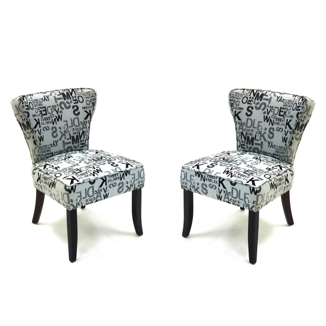 Modern Letters Accent Chairs in Alpha Letters Fabric (Set ...