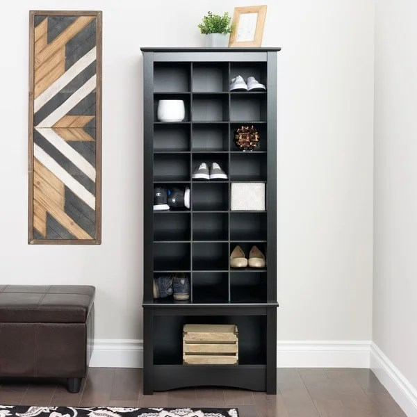 Broadway Black Tall Shoe Cubbie Cabinet Free Shipping
