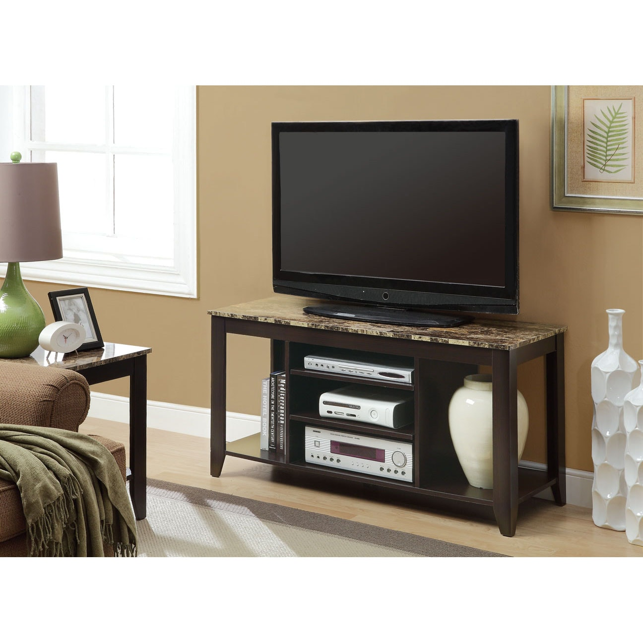 Cappuccino Marble Top 48L TV Console 14348527 Shopping Great Deals On