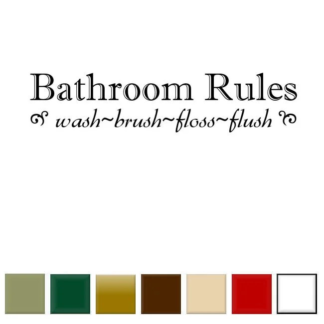 bathroom rules' vinyl wall art decal - free shipping on orders