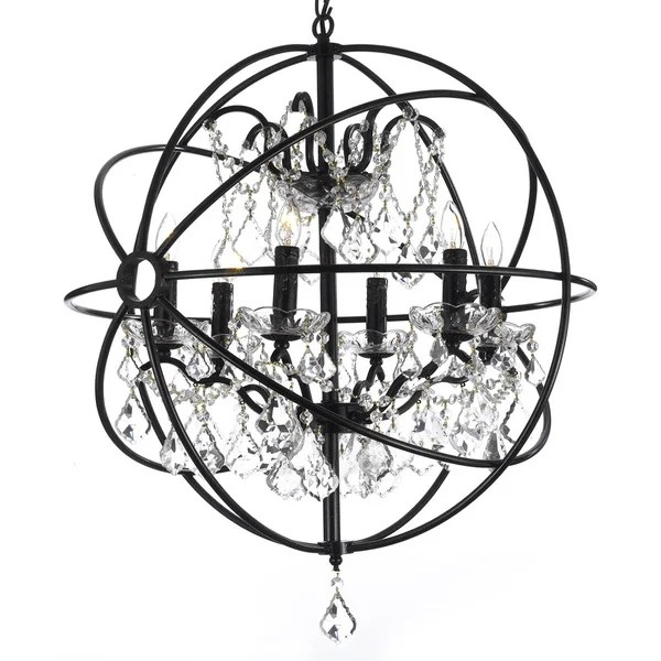 Foucault X27 S Orb Crystal Iron 6 Light Chandelier